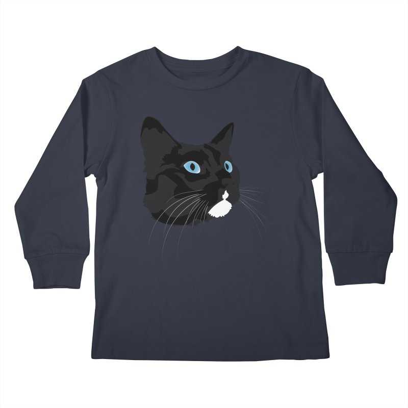 Black Cat Kids Longsleeve T-Shirt by Dean Cole Design