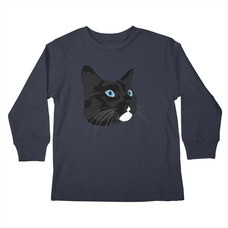 Black Cat Kids Longsleeve T-Shirt by Dean Cole Design