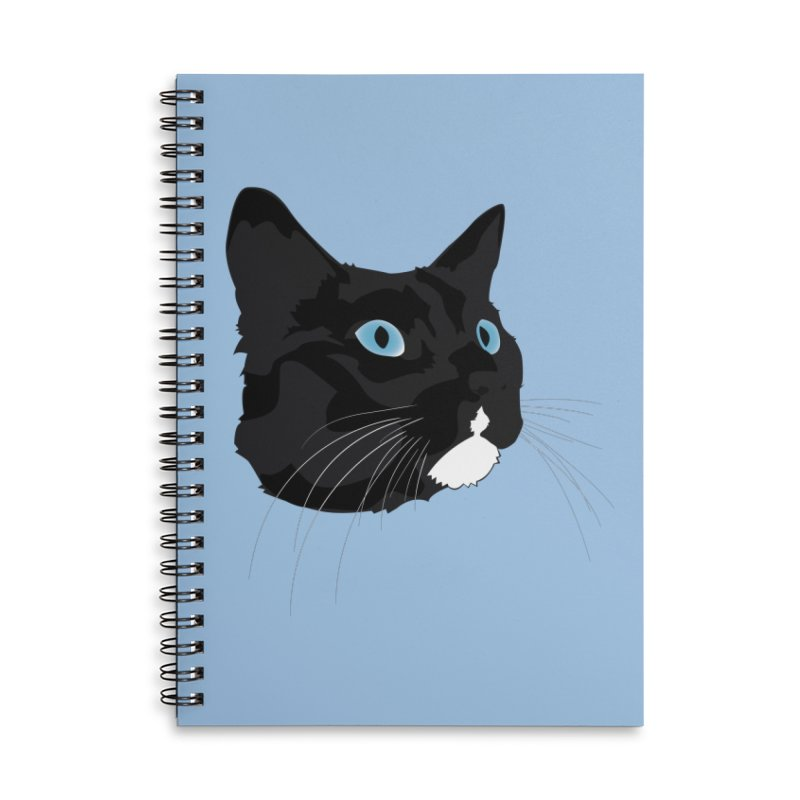 Black Cat Accessories Lined Spiral Notebook by Dean Cole Design