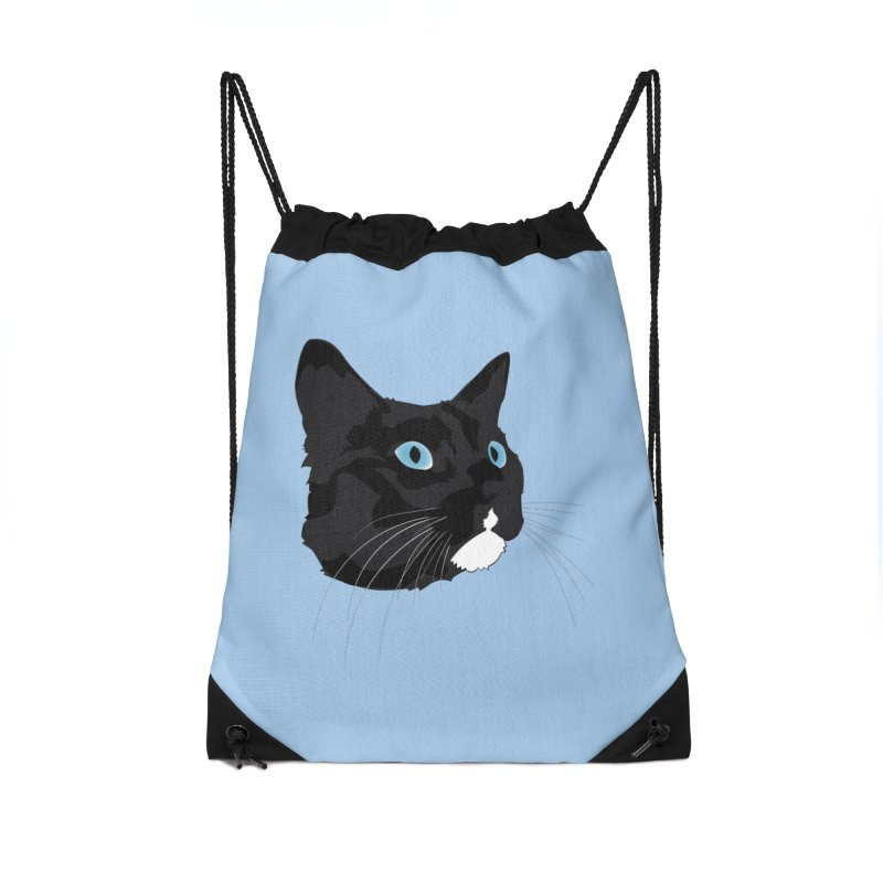 Black Cat Accessories Drawstring Bag Bag by Dean Cole Design
