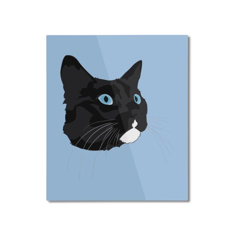 Black Cat Home Mounted Aluminum Print by Dean Cole Design