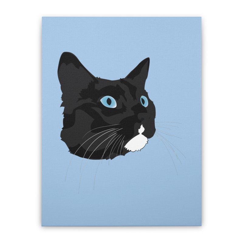 Black Cat Home Stretched Canvas by Dean Cole Design