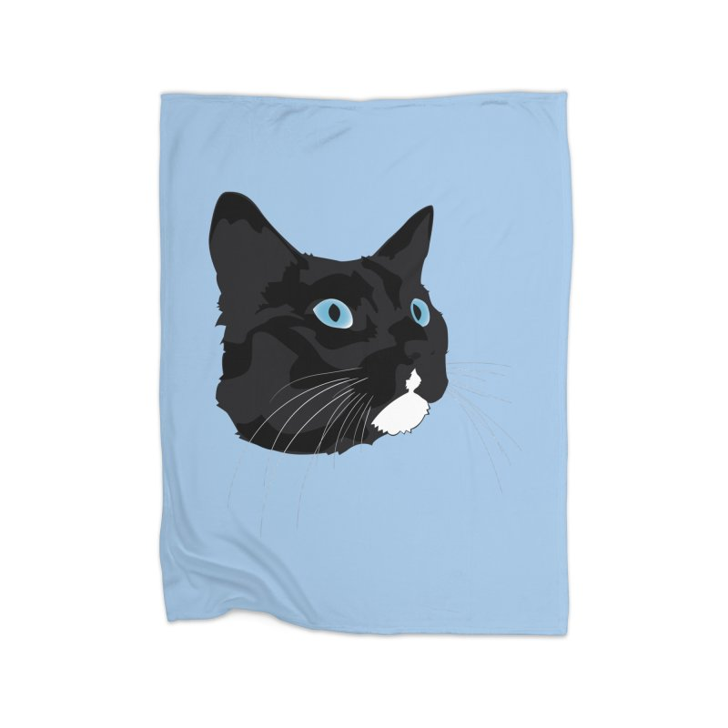 Black Cat Home Fleece Blanket Blanket by Dean Cole Design
