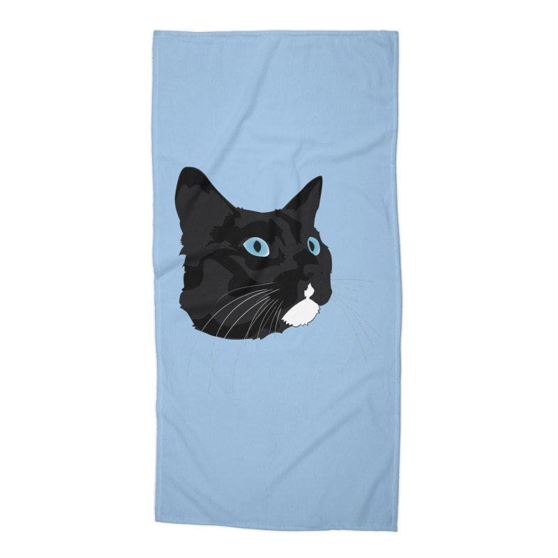 Black Cat Accessories Beach Towel by Dean Cole Design
