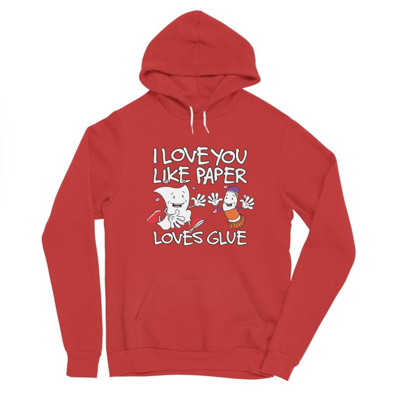 I Love You Like Paper Loves Glue Men's Sponge Fleece Pullover Hoody by Dean Cole Design