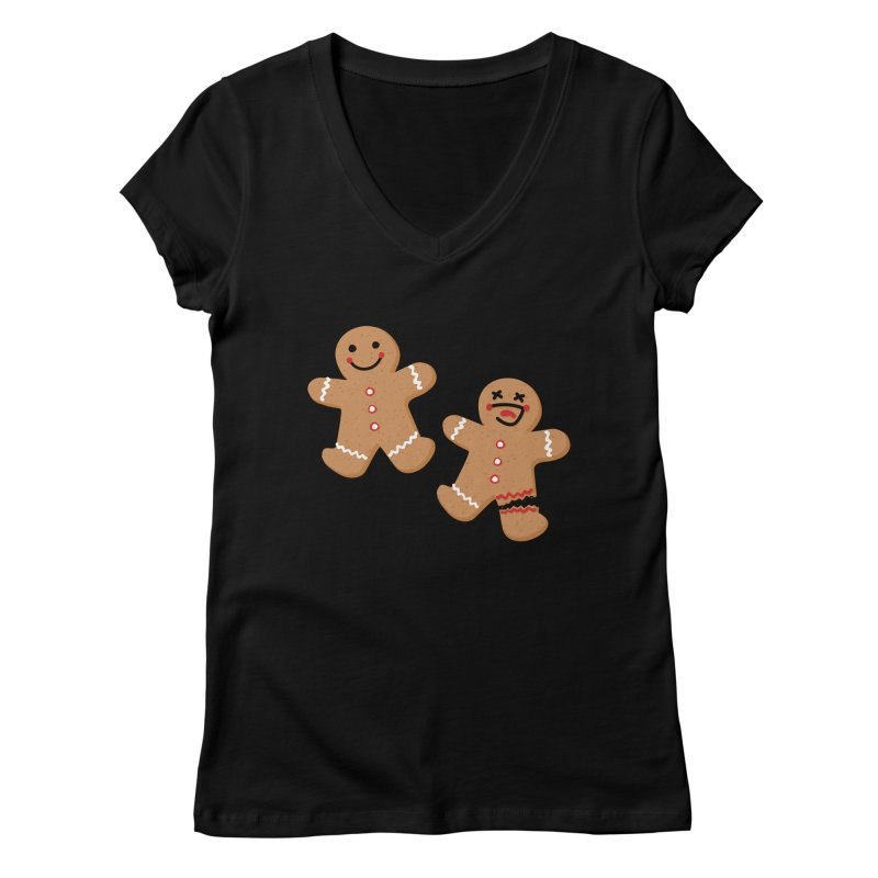 Gingerbread People Women's V-Neck by Dean Cole Design