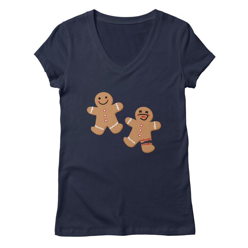Gingerbread People Women's Regular V-Neck by Dean Cole Design