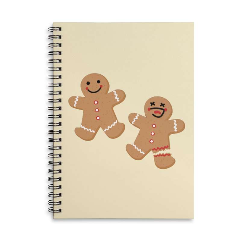 Gingerbread People Accessories Lined Spiral Notebook by Dean Cole Design