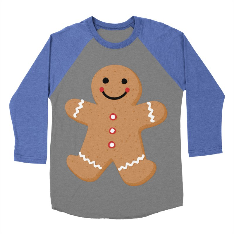 Gingerbread Person Men's Baseball Triblend Longsleeve T-Shirt by Dean Cole Design
