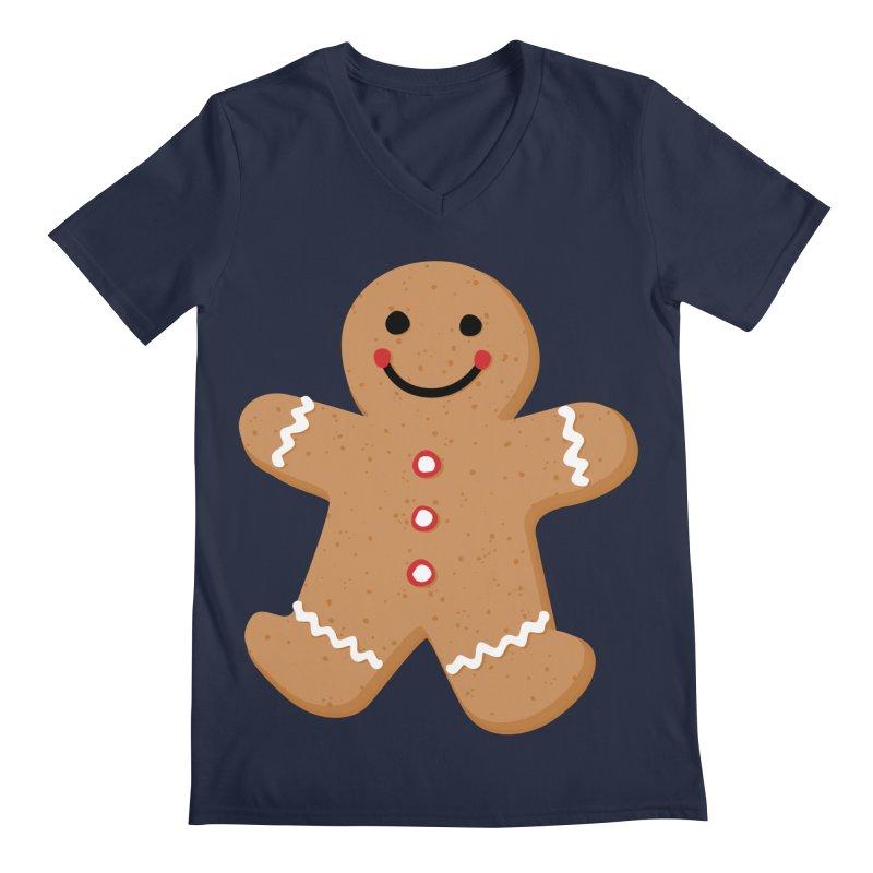 Gingerbread Person Men's Regular V-Neck by Dean Cole Design