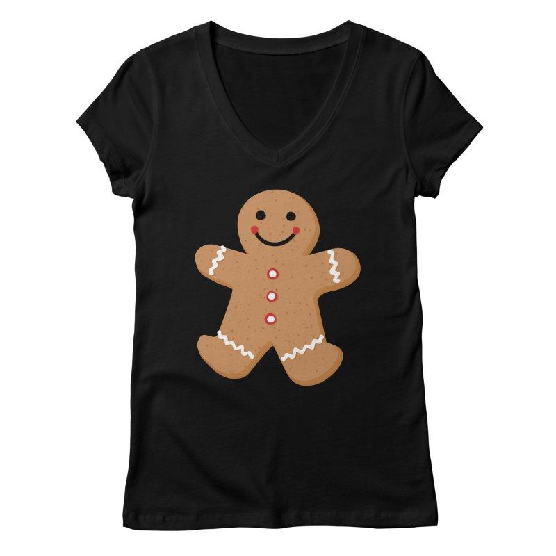 Gingerbread Person Women's V-Neck by Dean Cole Design