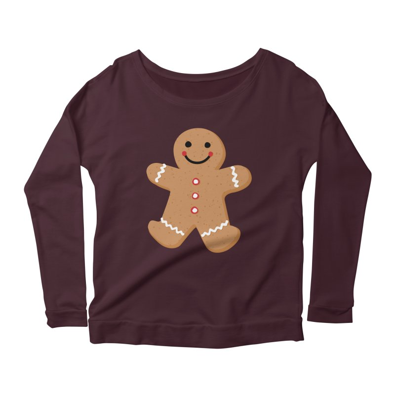 Gingerbread Person Women's Scoop Neck Longsleeve T-Shirt by Dean Cole Design