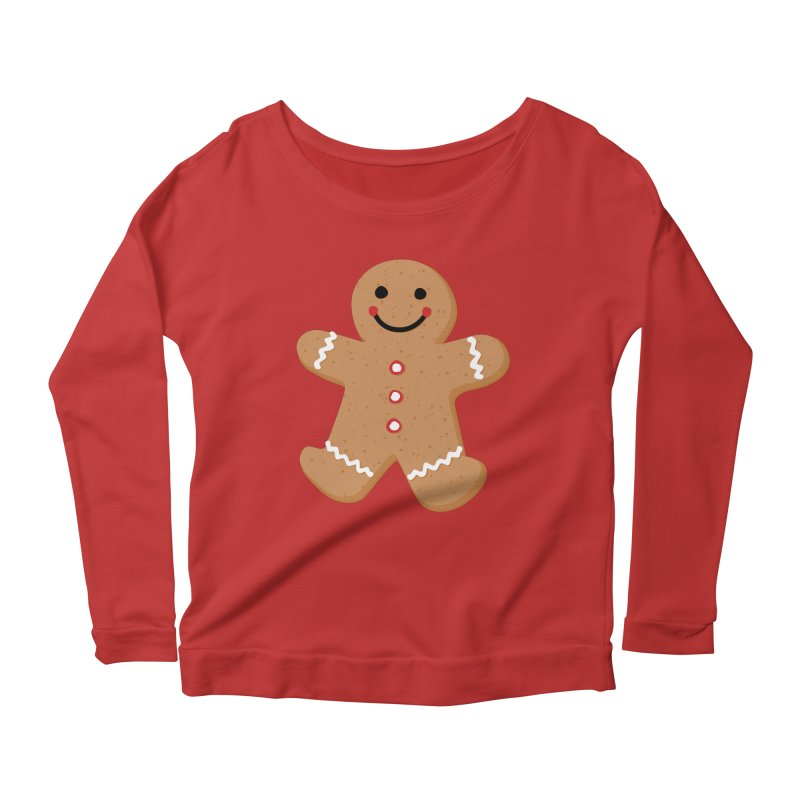 Gingerbread Person Women's Scoop Neck Longsleeve T-Shirt by Dean Cole Design