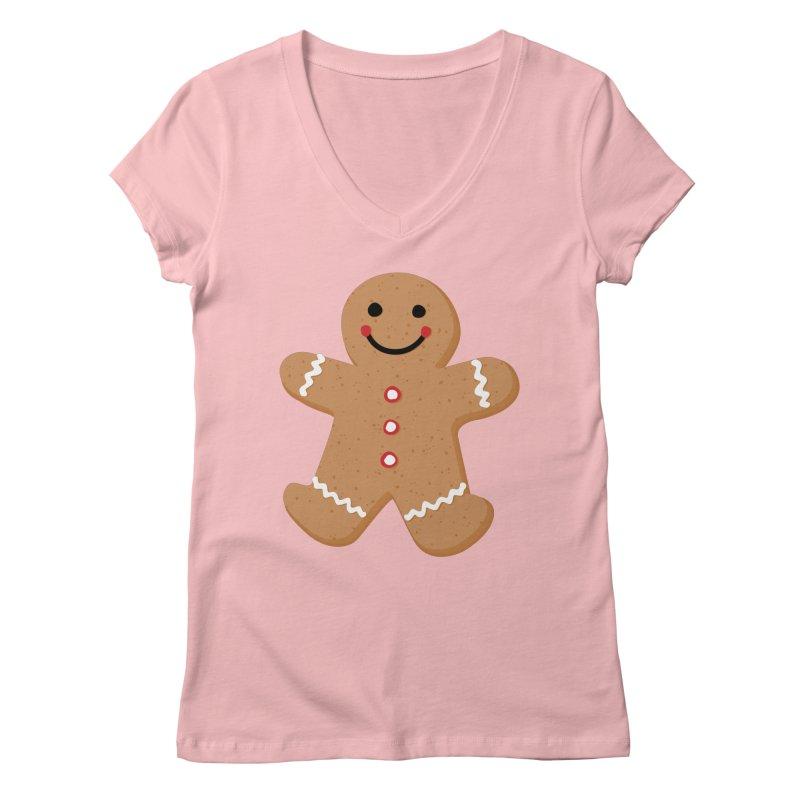 Gingerbread Person Women's Regular V-Neck by Dean Cole Design