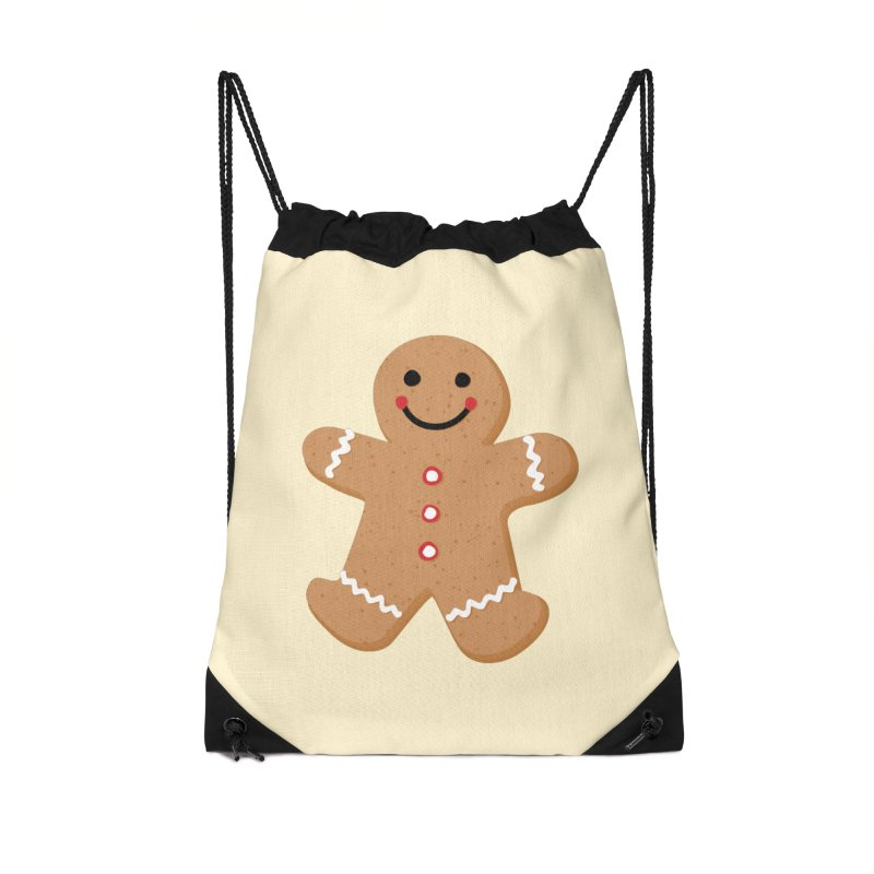 Gingerbread Person Accessories Drawstring Bag Bag by Dean Cole Design