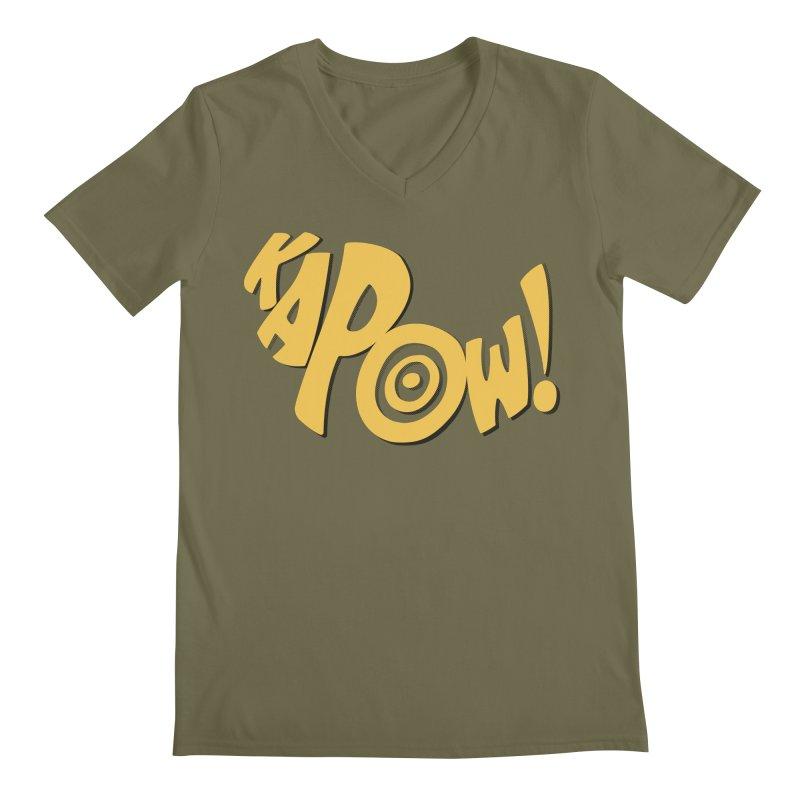 KaPow! Comic Book Sound Effect Men's Regular V-Neck by Dean Cole Design
