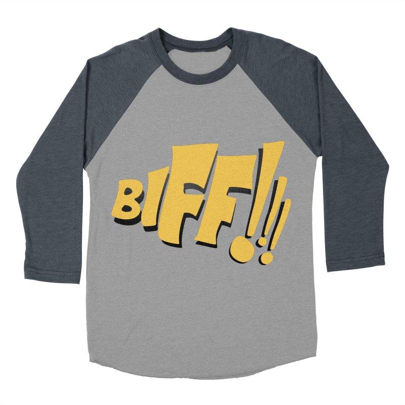Biff!!! Comic Book Sound Effect Women's Baseball Triblend Longsleeve T-Shirt by Dean Cole Design