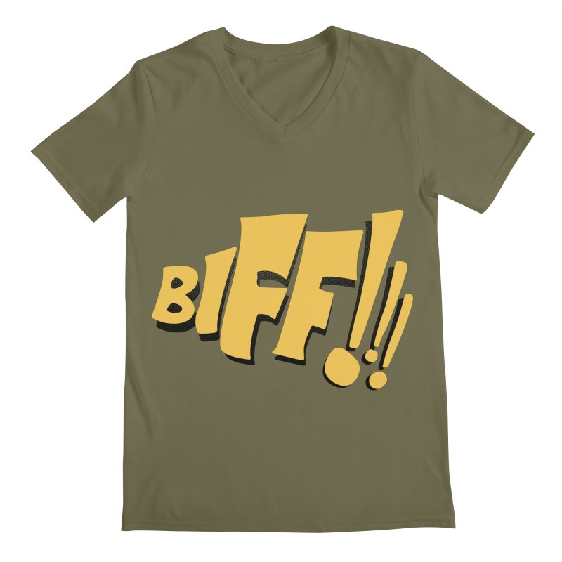Biff!!! Comic Book Sound Effect Men's Regular V-Neck by Dean Cole Design