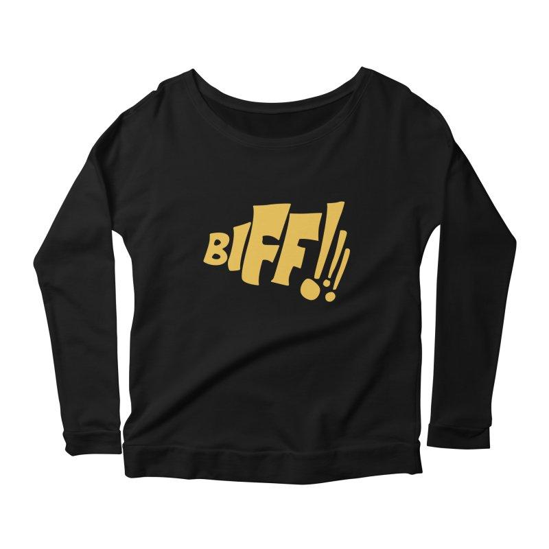 Biff!!! Comic Book Sound Effect Women's Scoop Neck Longsleeve T-Shirt by Dean Cole Design