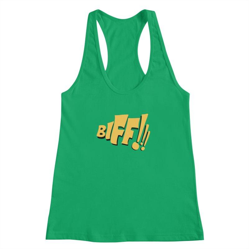 Biff!!! Comic Book Sound Effect Women's Racerback Tank by Dean Cole Design