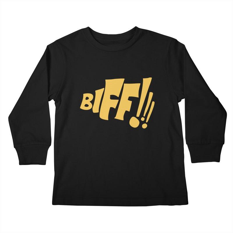 Biff!!! Comic Book Sound Effect Kids Longsleeve T-Shirt by Dean Cole Design
