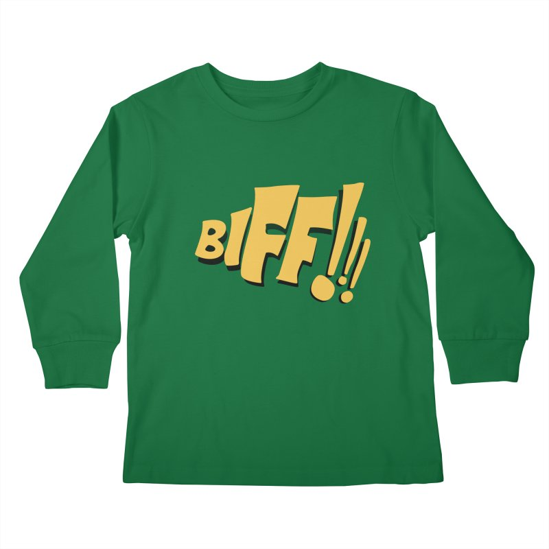 Biff!!! Comic Book Sound Effect Kids Longsleeve T-Shirt by Dean Cole Design