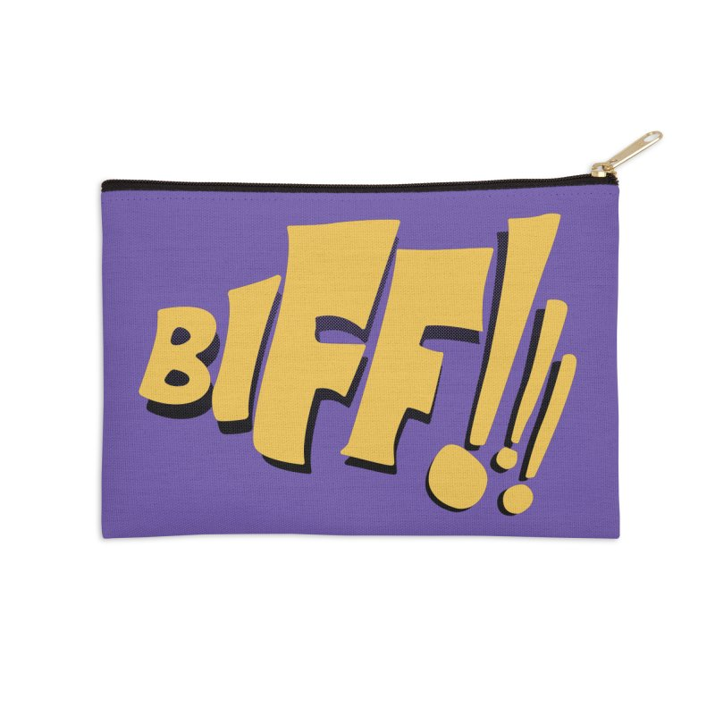 Biff!!! Comic Book Sound Effect Accessories Zip Pouch by Dean Cole Design