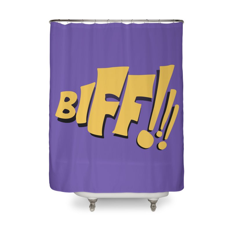 Biff!!! Comic Book Sound Effect Home Shower Curtain by Dean Cole Design