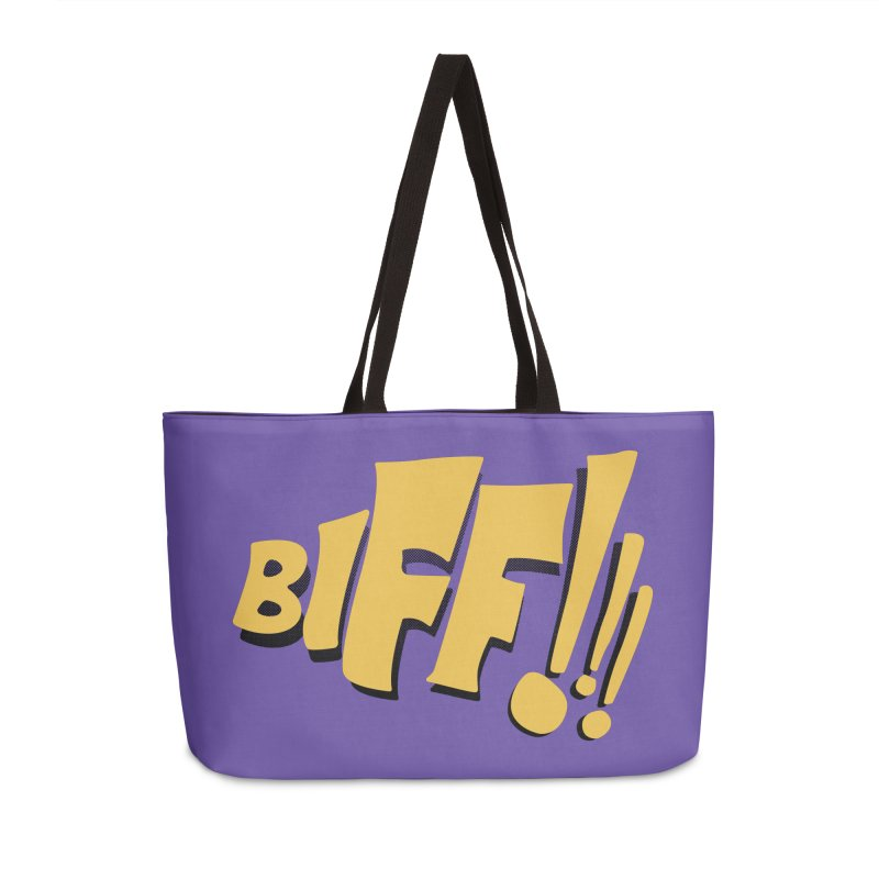 Biff!!! Comic Book Sound Effect Accessories Weekender Bag Bag by Dean Cole Design
