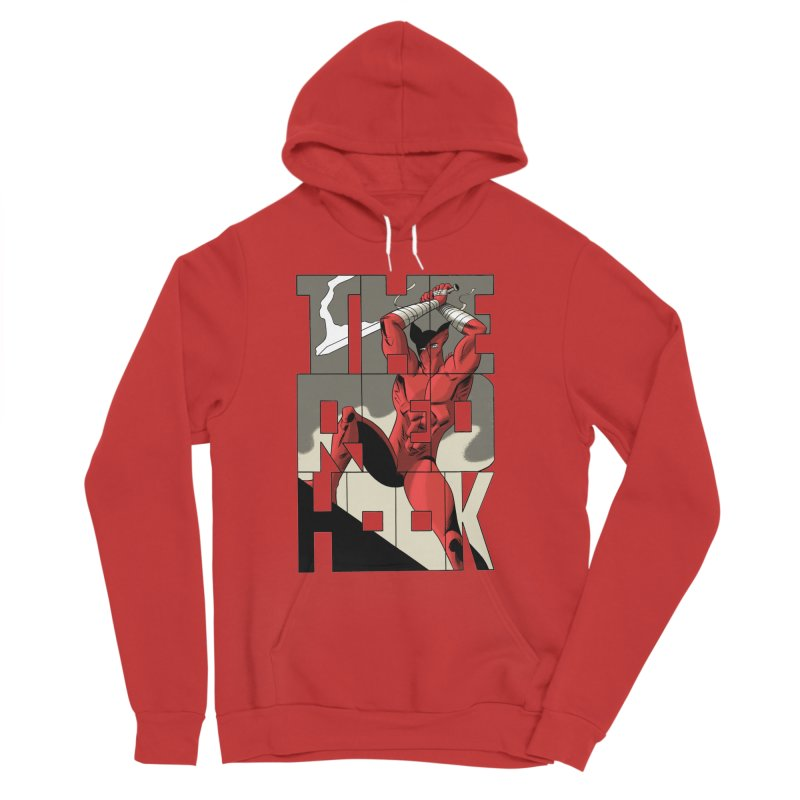 The Red Hook in Men's Sponge Fleece Pullover Hoody Red by Dean Haspiel