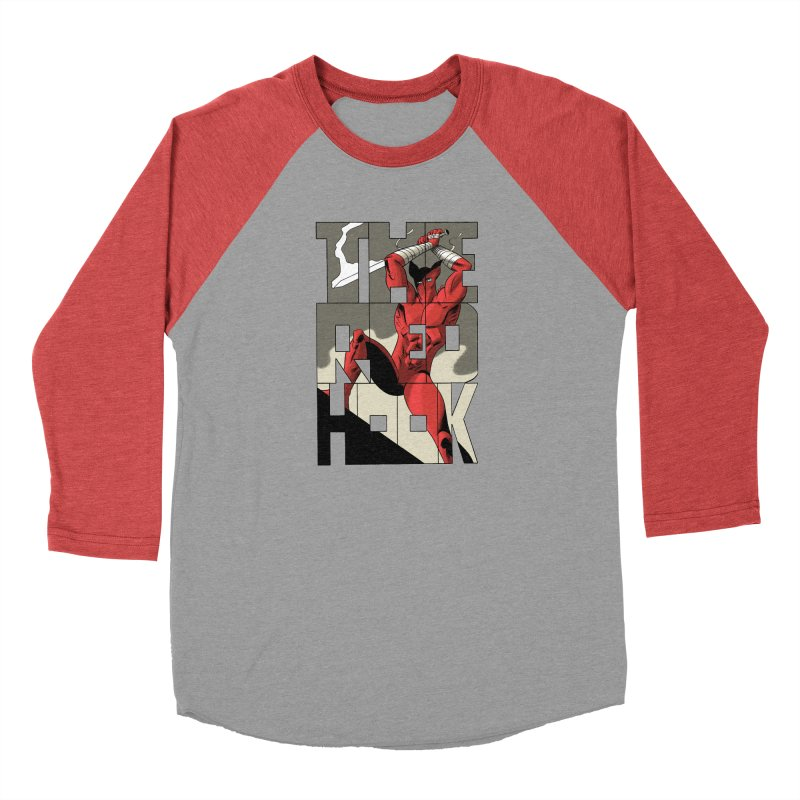 The Red Hook in Men's Baseball Triblend Longsleeve T-Shirt Chili Red Sleeves by Dean Haspiel