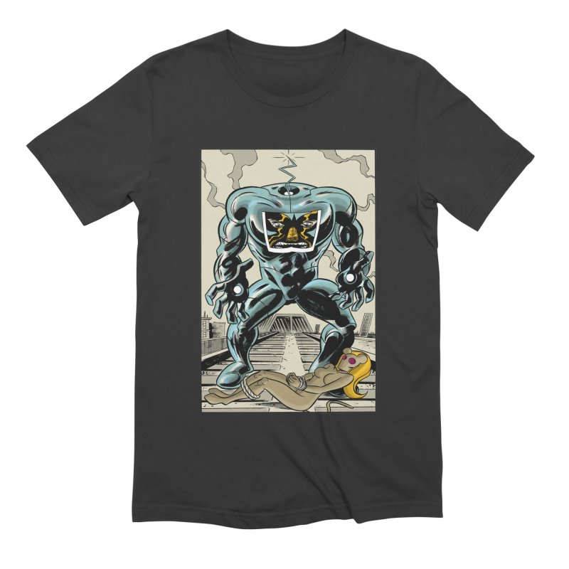 The Iron Knee in Men's Extra Soft T-Shirt Smoke by Dean Haspiel