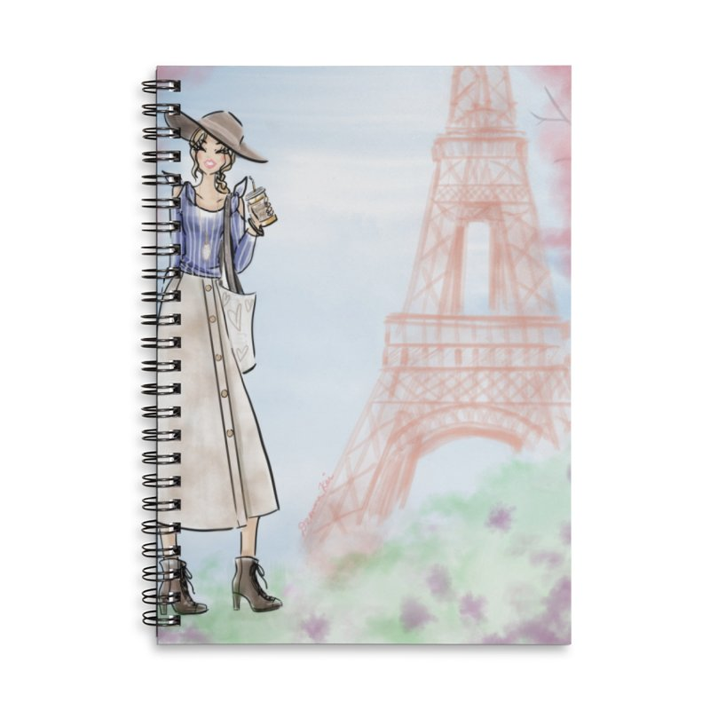 Springtime in Paris Accessories Lined Spiral Notebook by deannakei's Artist Shop