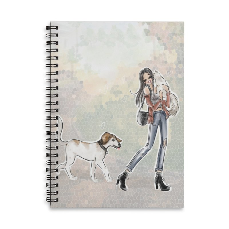 Fall Stroll with Pets Accessories Lined Spiral Notebook by Deanna Kei's Artist Shop