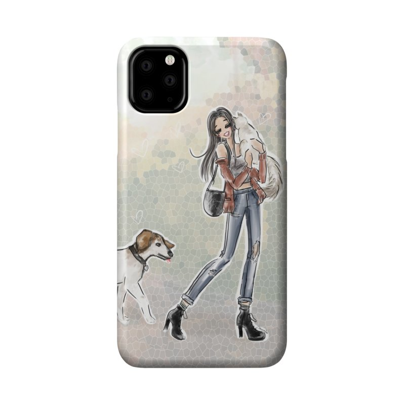 Fall Stroll with Pets Accessories Phone Case by Deanna Kei's Artist Shop