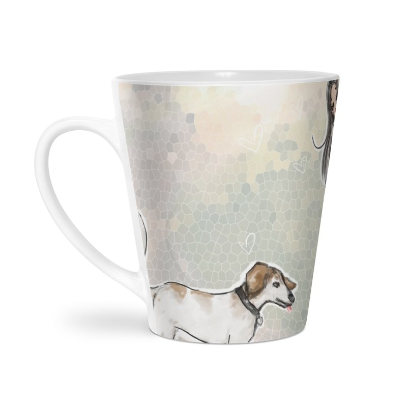 Fall Stroll with Pets Accessories Latte Mug by deannakei's Artist Shop