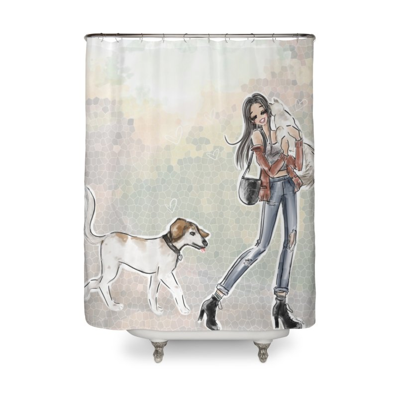 Fall Stroll with Pets Home Shower Curtain by deannakei's Artist Shop