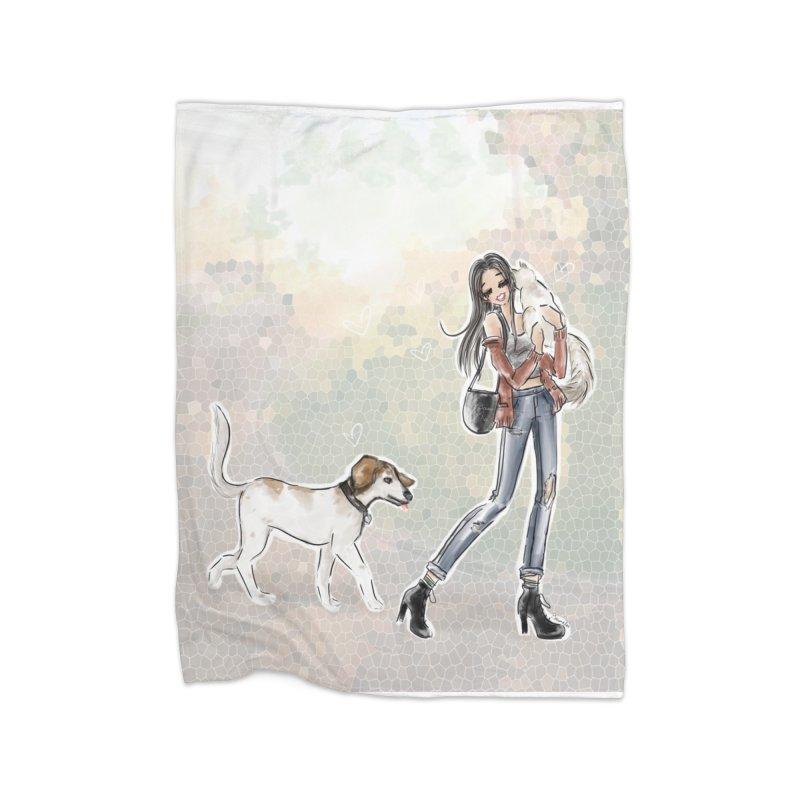 Fall Stroll with Pets Home Fleece Blanket Blanket by deannakei's Artist Shop