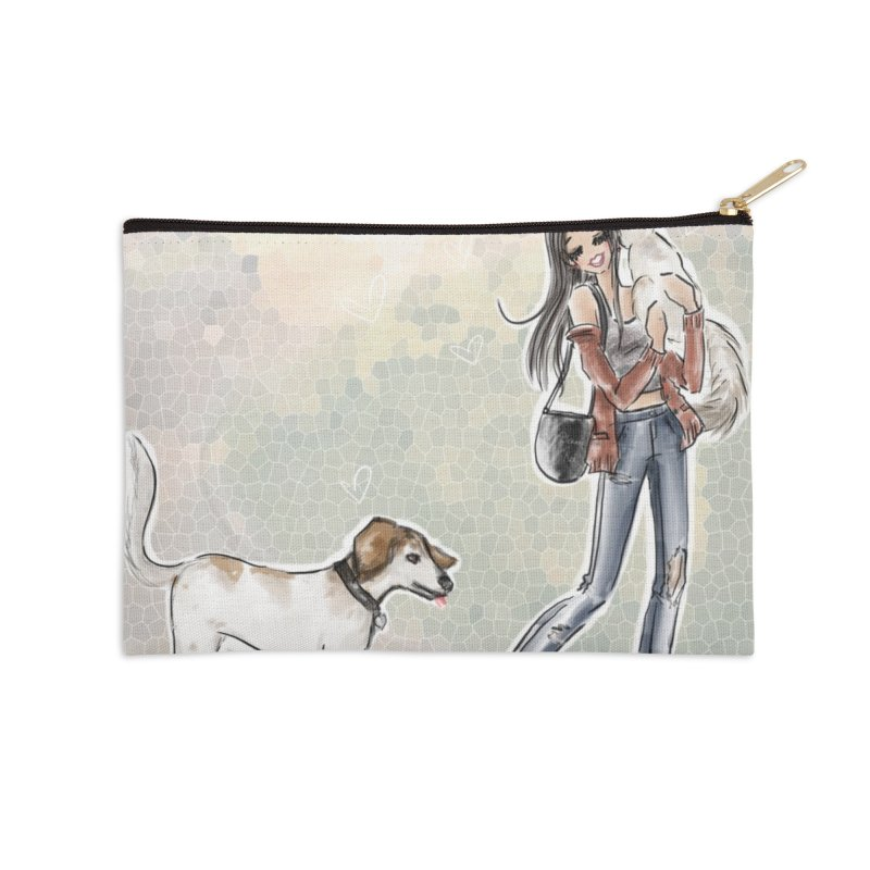 Fall Stroll with Pets Accessories Zip Pouch by deannakei's Artist Shop