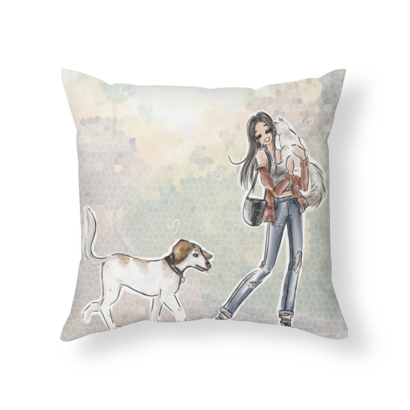 Fall Stroll with Pets Home Throw Pillow by deannakei's Artist Shop