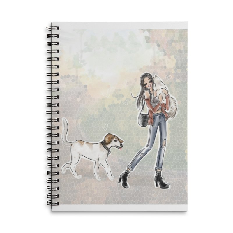 Fall Stroll with Pets Accessories Lined Spiral Notebook by deannakei's Artist Shop