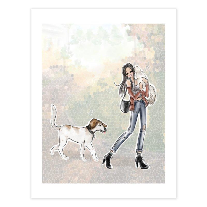 Fall Stroll with Pets Home Fine Art Print by deannakei's Artist Shop
