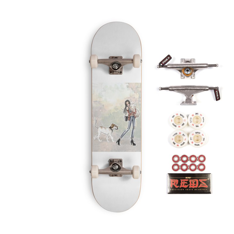 Fall Stroll with Pets Accessories Complete - Pro Skateboard by deannakei's Artist Shop