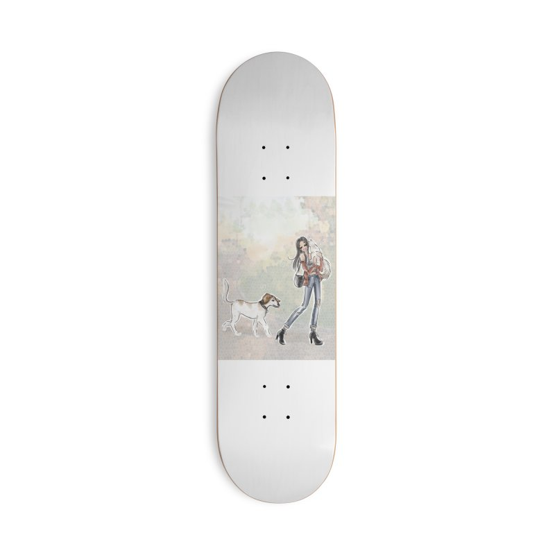 Fall Stroll with Pets Accessories Deck Only Skateboard by deannakei's Artist Shop