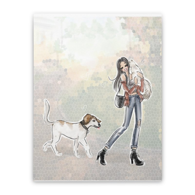 Fall Stroll with Pets Home Stretched Canvas by Deanna Kei's Artist Shop
