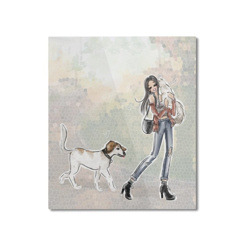 Fall Stroll with Pets Home Mounted Aluminum Print by Deanna Kei's Artist Shop