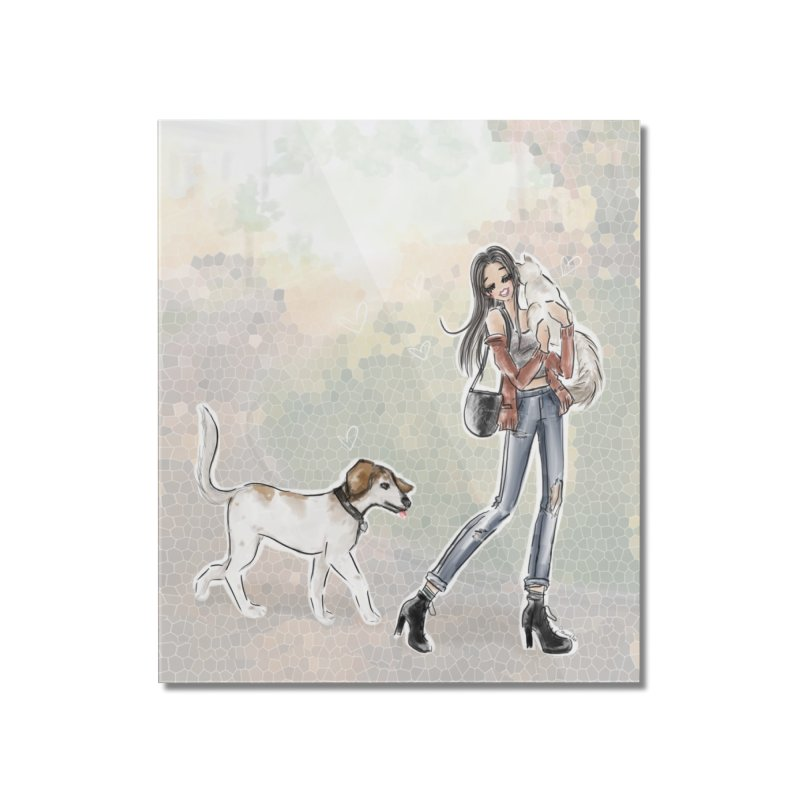 Fall Stroll with Pets Home Mounted Acrylic Print by deannakei's Artist Shop