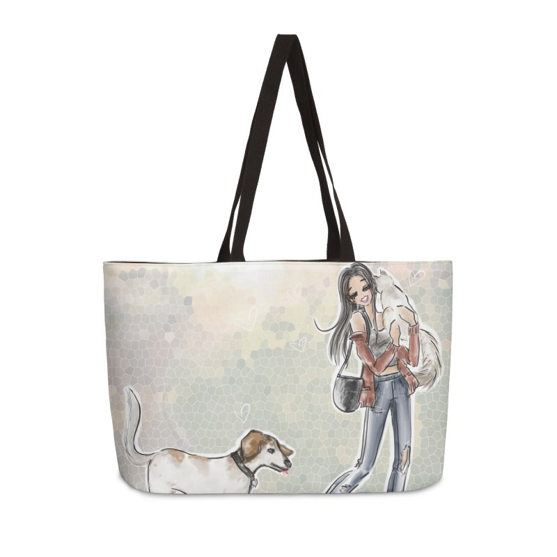 Fall Stroll with Pets in Weekender Bag by Deanna Kei's Artist Shop