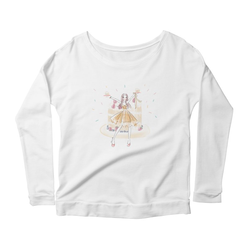 Funfetti Cake Girl Women's Scoop Neck Longsleeve T-Shirt by Deanna Kei's Artist Shop