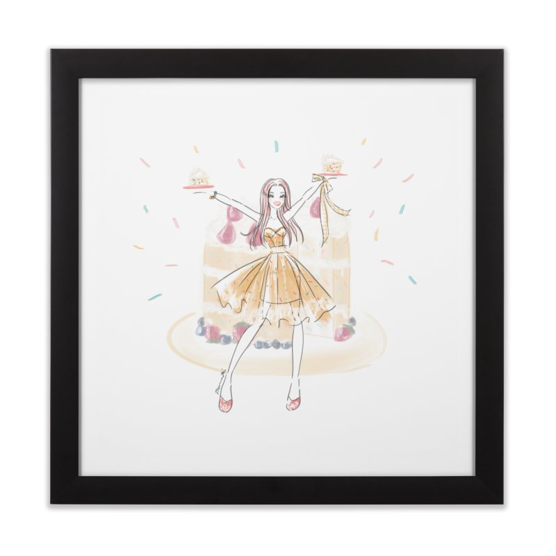 Funfetti Cake Girl Home Framed Fine Art Print by Deanna Kei's Artist Shop